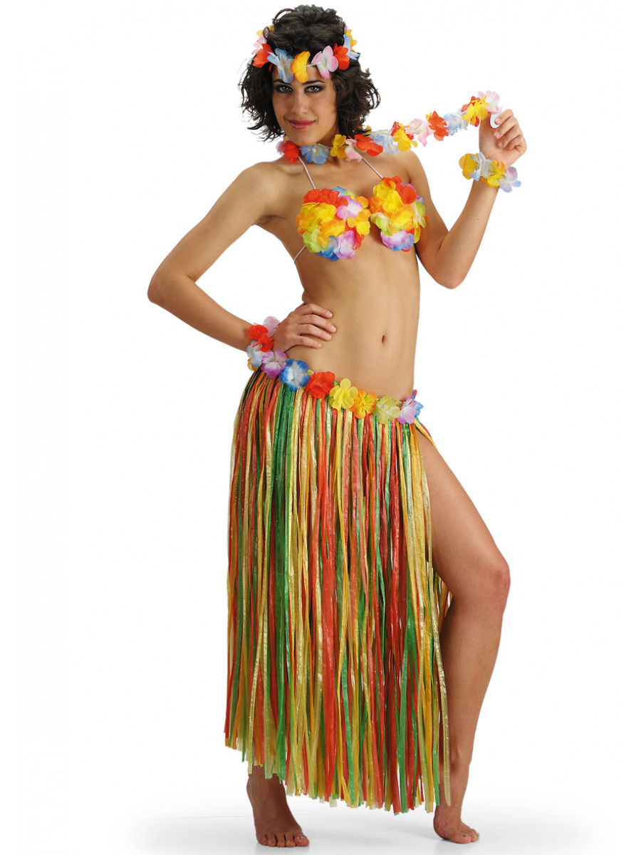 GONNA HAWAII MULTICOLORE CON FIORI IN PLASTICA L.75 CM