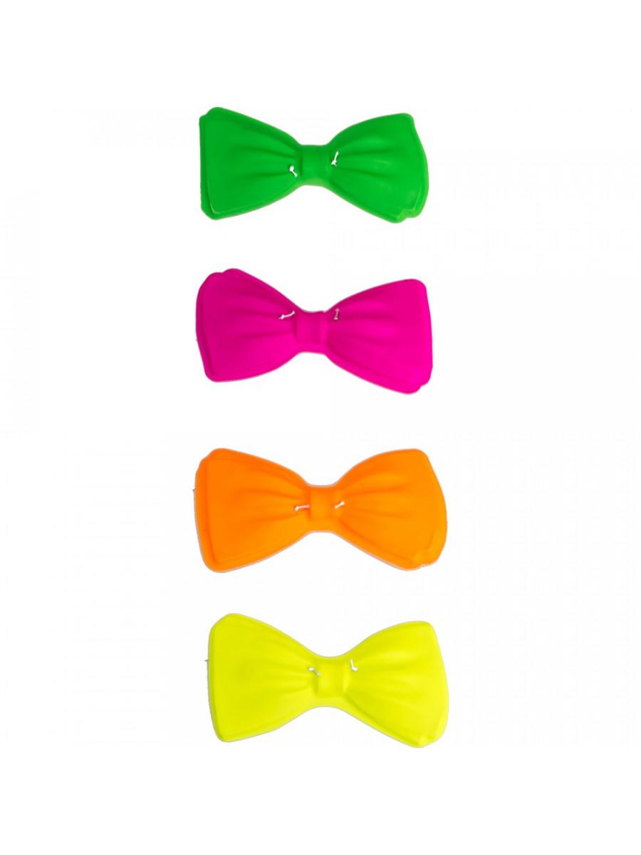 12 Papillon Fluo per Party Feste in Maschera Kit 12 Cappelli Fluo 12 Cravatte Fluo GIRM/® Colori Assortiti