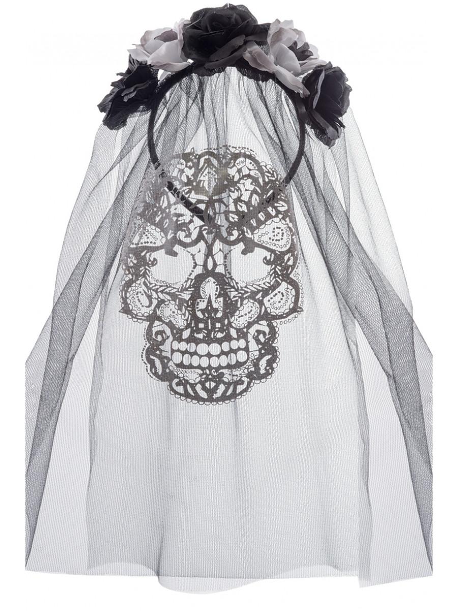 6 Rose cerchietto con teschio e velo Cerchietto Sposa Per Halloween Costume