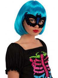 Maschera pipistrello in plastica e vellutino con glitter blu in busta c/cav.