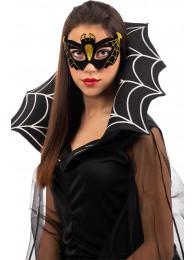 Maschera pipistrello in plastica e vellutino con glitter oro in busta c/cav.