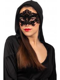 Maschera in plastica intagliata c/velluto nero su cartoncino