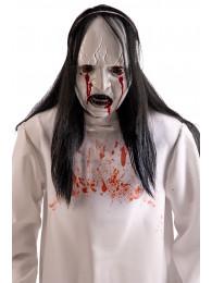 Maschera mostro viso bianco in plastica c/sangue e capelli in busta c/cav.