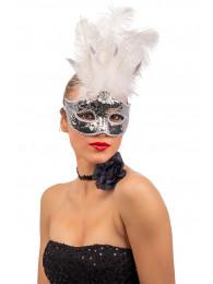 Maschera argento in plastica c/paillettes, piume bianche e decorazioni in busta c/cav.