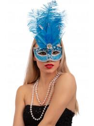Maschera turchese in plastica con piume e decorazioni in busta c/cav.