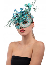 Maschera acquamarina in plastica con decor. floreali glitter e farfalle in busta