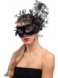 Maschera nera in plastica con decorazioni floreali glitter  in busta