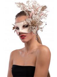 Maschera rosa antico in plastica con decorazioni floreali oro  in busta