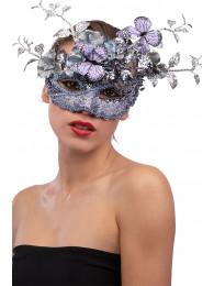 Maschera lilla in plastica con decorazioni floreali glitter e farfalle in busta