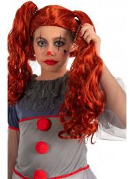 Parrucca clown horror bimba (con codini staccabili) in busta