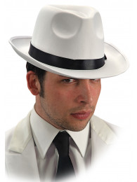 CAPPELLO GANGSTER IN TESSUTO BIANCO