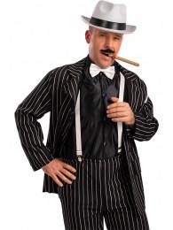 Set gangster (cappello,papillon,bretelle,sigaro, baffi) su cartoncino