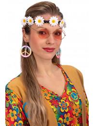Set hippie (fascia,occhiali,orecchini) su cartoncino
