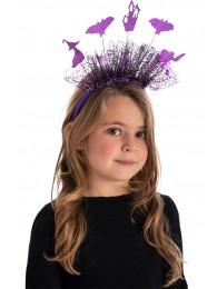 Cerchietto con tulle e decor.Halloween viola in busta c/cav.