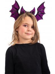 Cerchietto pipistrello viola in tessuto lurex e paillettes in busta c/cav.