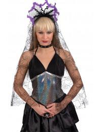 Cerchietto c/decorazioni Halloween e velo in busta c/cav.