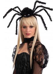 Cerchietto c/ragno nero in vellutino c/cav.