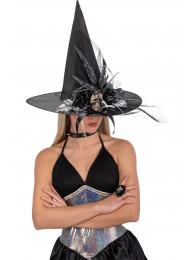 Cappello strega nero in tess.plast.c/teschio e dec. h.cm. 45 ca. c/cartellino/etichetta