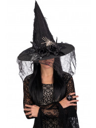 Cappello strega nero in tess. plast,veletta, ragno e dec. h.cm.45 ca. c/cartellino/etichetta