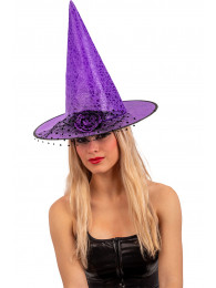 Cappello strega viola in tessuto plastificato c/rosa e voile h.cm.35 ca. c/cartellino/etichetta