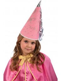 Cappello fatina rosa in carta h.cm.30 ca. c/cartellino/etichetta