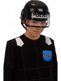 Elmetto nero poliziotto bimbo in plastica con cartellino/etichetta