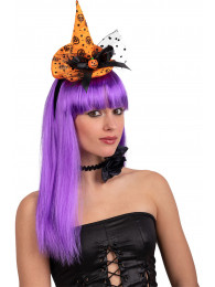 Cappellino strega arancione c/decorazioni c/cerch. h.cm.15 ca. c/cartellino/etichetta