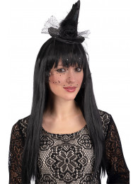 Cappellino strega nero c/decorazioni e velo c/cerc. h.cm.8 ca. c/cartellino/etichetta