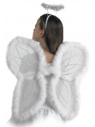 ALI DA ANGELO IN TULLE BIANCO CON MARABOUT E GLITTER H. 48X46
