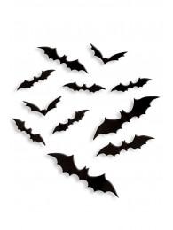 12 pipistrelli 3D adesivi in plastica in busta c/cav.