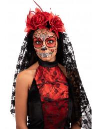 Cartella decorazioni adesive viso crystal teschio messicano in busta su cartoncino