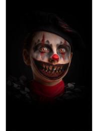 Cartella tatuaggio bocca clown horror denti aguzzi in busta su cartoncino