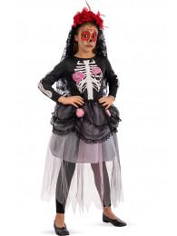 Costume sposa scheletro bimba tg. VI in busta c/gancio