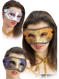 MASCHERA IN CARTAPESTA DECORATA COLORI ASSORTITI