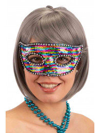 MASCHERA IN PLASTICA CON PAILLETTES MULTICOLOR