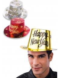 24 CAPPELLI HAPPY NEW YEAR IN CARTA METALLIZZATA COLORI ASSORTITI