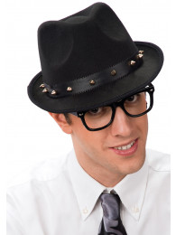 CAPPELLO GANGSTER NERO CON BORCHIE