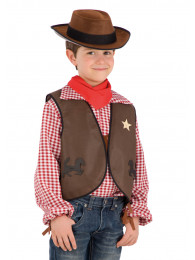 SET COW BOY GILET,CAPPELLO E FAZZOLETTO